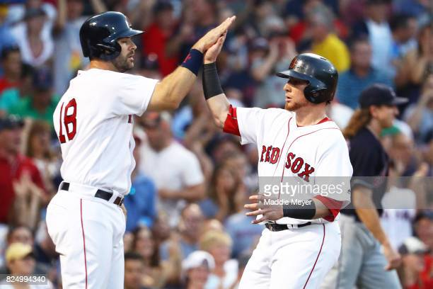 Mitch Moreland of the Boston Red Sox and Christian Vazquez celebrate after scoring runs against the Cleveland Indians during the second inning at...