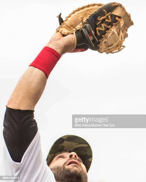Mitch Moreland of the Boston Red Sox catches a foul ball during the fifth inning of a game against the Seattle Mariners on May 28 2017 at Fenway Park...