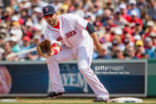 Mitch Moreland of the Boston Red Sox catches a throw during the second inning of a Spring Training game against the Atlanta Braves on March 5 2017 at...