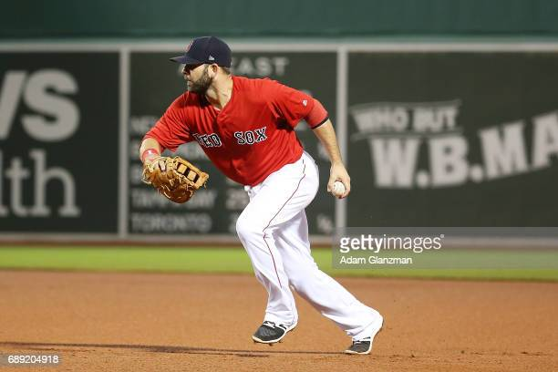 Mitch Moreland of the Boston Red Sox fields a ground ball in the fourth inning of a game against the Seattle Mariners at Fenway Park on May 26 2017...