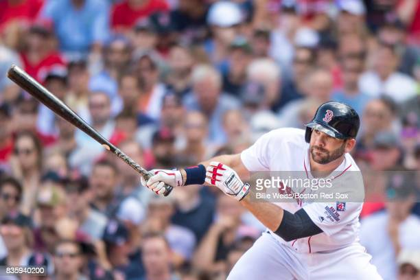 Mitch Moreland of the Boston Red Sox hits a single during the sixth inning of a game against the New York Yankees on August 20 2017 at Fenway Park in...