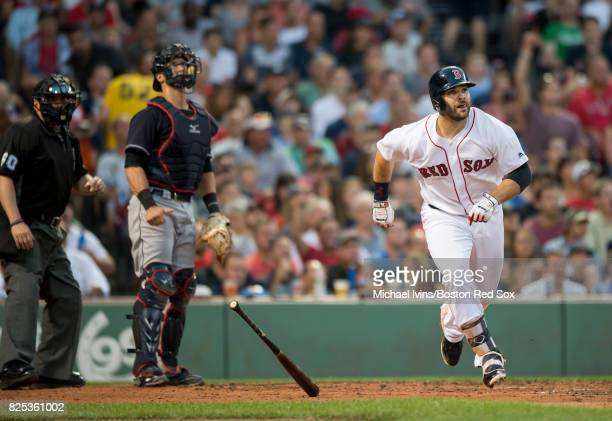 Mitch Moreland of the Boston Red Sox hits a threerun home run against the Cleveland Indians in the second inning on August 1 2017 in Boston...