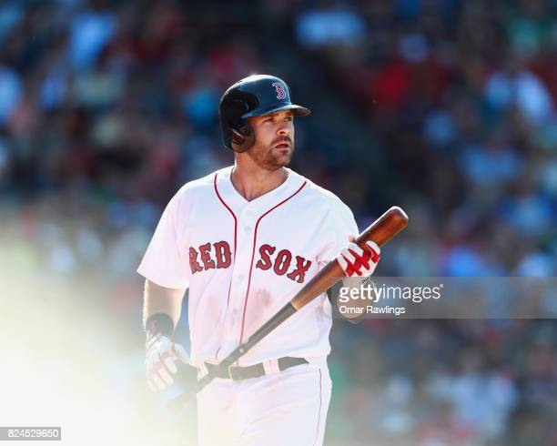 Mitch Moreland of the Boston Red Sox looks on after striking out in the bottom of the ninth inning during the game against the Kansas City Royals at...