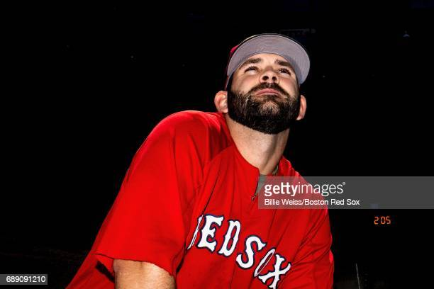 Mitch Moreland of the Boston Red Sox looks on before a game against the Seattle Mariners on May 27 2017 at Fenway Park in Boston Massachusetts