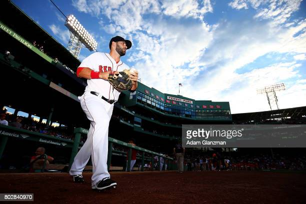 Mitch Moreland of the Boston Red Sox looks on before a game against the Minnesota Twins at Fenway Park on June 26 2017 in Boston Massachusetts
