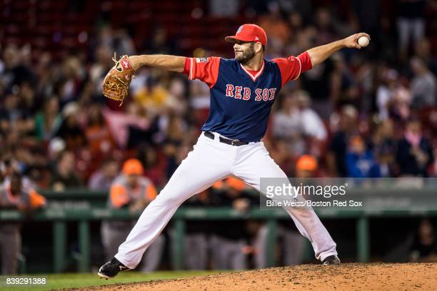 Mitch Moreland of the Boston Red Sox pitches during the ninth inning of a game against the Baltimore Orioles on August 25 2017 at Fenway Park in...