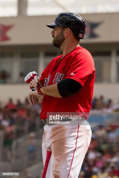 Mitch Moreland of the Boston Red Sox puts on his Franklin batting gloves during the spring Training game against the Team USA at Jet Blu Park on...
