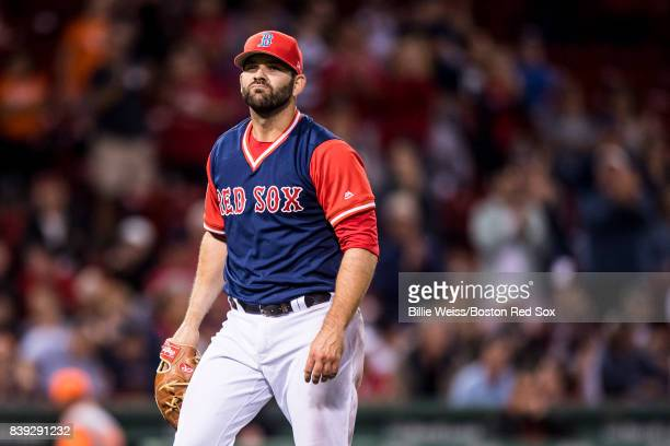 Mitch Moreland of the Boston Red Sox reacts after pitching during the ninth inning of a game against the Baltimore Orioles on August 25 2017 at...
