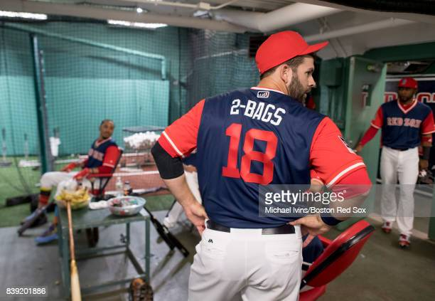 Mitch Moreland of the Boston Red Sox stands in the batting tunnel wearing a jersey bearing his nickname before the start of a Player's Weekend game...