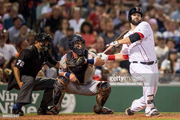 Mitch Moreland of the Boston Red Sox strikes out during the fifth inning of a game against the Detroit Tigers on June 11 2017 at Fenway Park in...