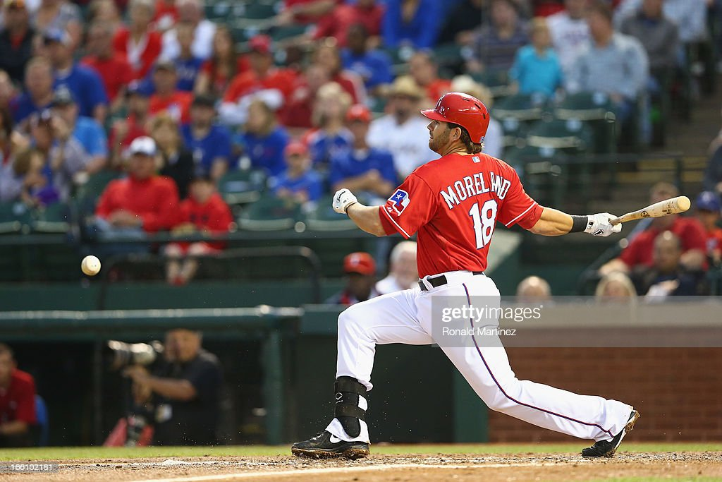 <a gi-track='captionPersonalityLinkClicked' href=/galleries/search?phrase=Mitch+Moreland&family=editorial&specificpeople=6824046 ng-click='$event.stopPropagation()'>Mitch Moreland</a> #18 of the Texas Rangers at bat against the Tampa Bay Rays at Rangers Ballpark in Arlington on April 8, 2013 in Arlington, Texas.