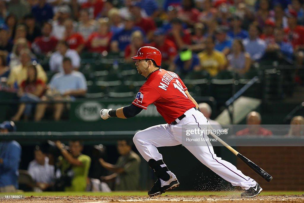 Mitch Moreland #18 of the Texas Rangers at Rangers Ballpark in Arlington on September 24, 2013 in Arlington, Texas.