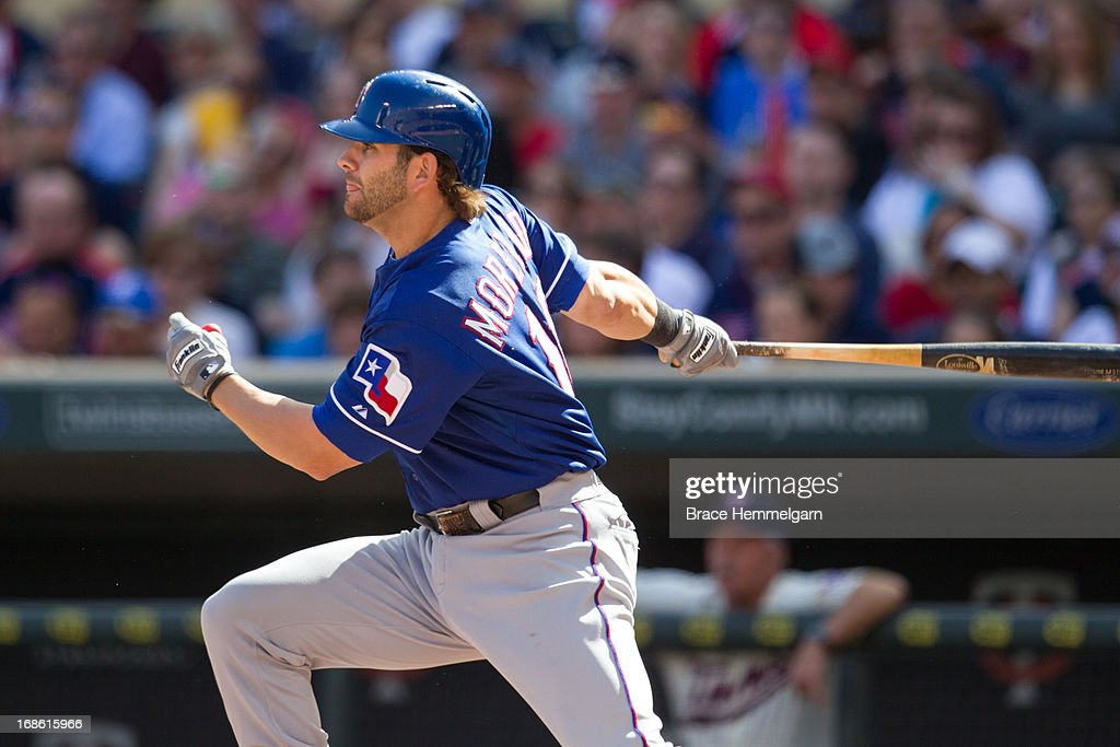 Mitch Moreland #18 of the Texas Rangers bats against the Minnesota Twins on April 27, 2013 at Target Field in Minneapolis, Minnesota. The Twins defeated the Rangers 7-2.