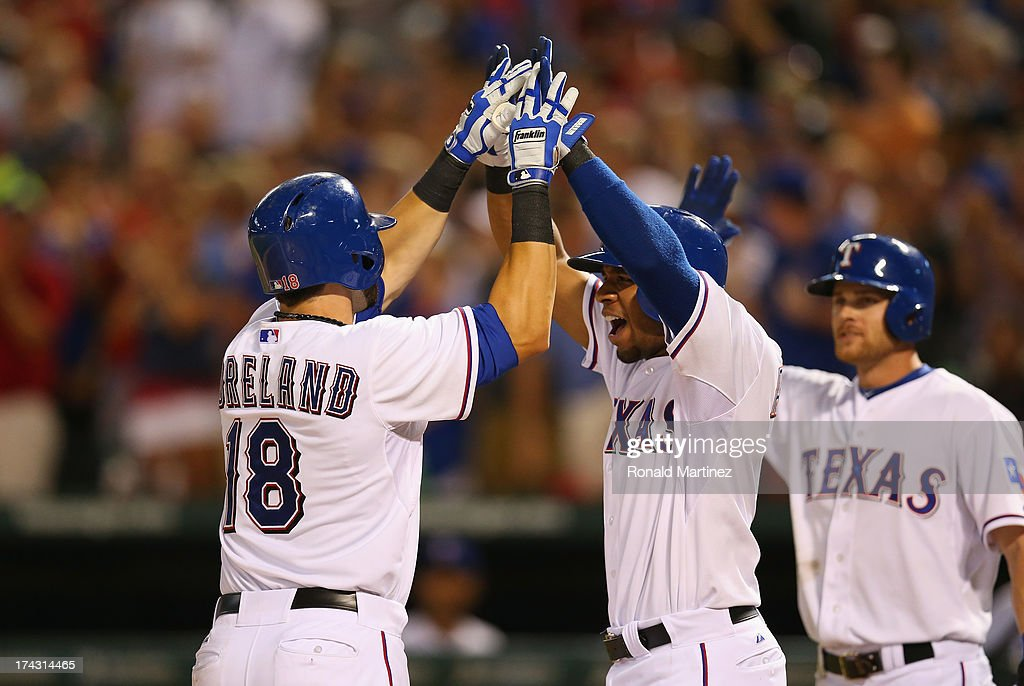 Mitch Moreland of the Texas Rangers celebrates his tworun homerun with Elvis Andrus against the New York Yankees at Rangers Ballpark in Arlington on...