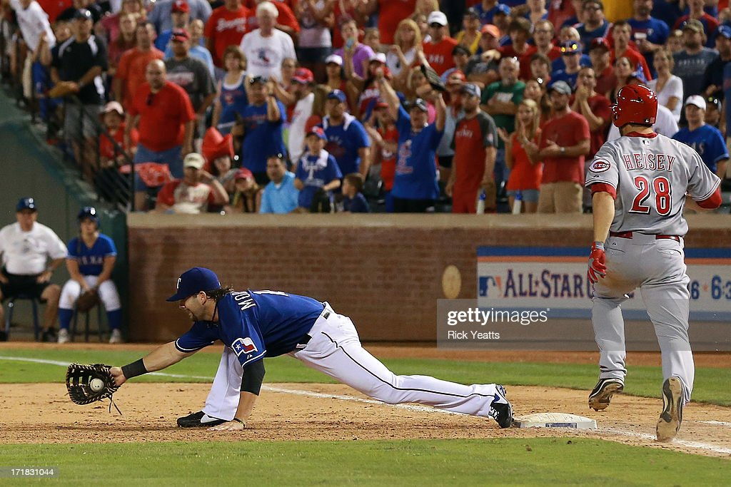 <a gi-track='captionPersonalityLinkClicked' href=/galleries/search?phrase=Mitch+Moreland&family=editorial&specificpeople=6824046 ng-click='$event.stopPropagation()'>Mitch Moreland</a> #18 of the Texas Rangers reaches for a throw from teammate Adrian Beltre #29 for the out on <a gi-track='captionPersonalityLinkClicked' href=/galleries/search?phrase=Chris+Heisey&family=editorial&specificpeople=5971787 ng-click='$event.stopPropagation()'>Chris Heisey</a> #28 of the Cincinnati Reds at Rangers Ballpark in Arlington on June 28, 2013 in Arlington, Texas.
