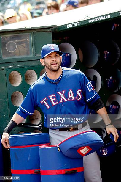 Mitch Moreland of the Texas Rangers stands in the dugout prior to the game against the Oakland Athletics at Oco Coliseum on May 15 2013 in Oakland...