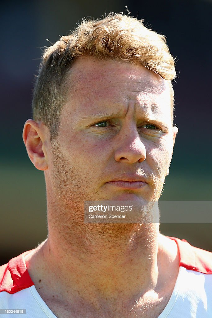Mitch Morton of the Swans looks on during a Sydney Swans AFL training session at Sydney Cricket Ground on September 12, 2013 in Sydney, Australia.