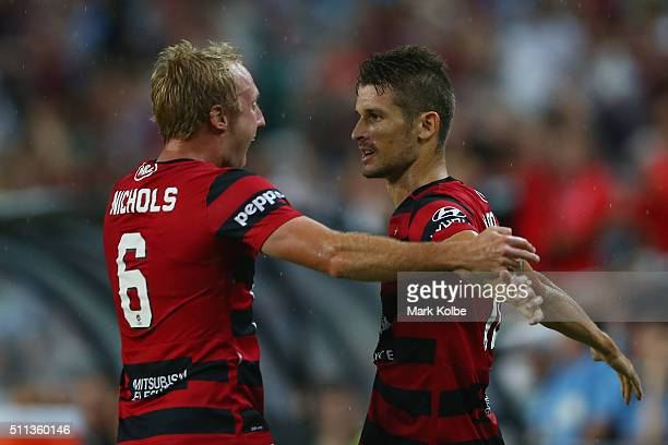 Mitch Nichols and Dario Vidosic of the Wanderers celebrate Dario Vidosic scoring a goal during the round 20 ALeague match between Sydney FC and the...