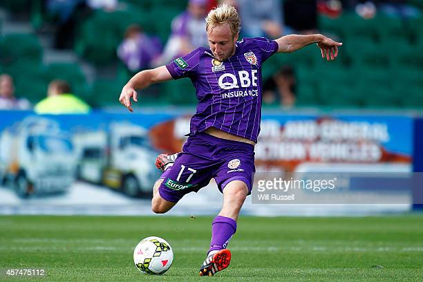Mitch Nichols of the Glory kicks the ball during the round two ALeague match between the Perth Glory and Brisbane Roar at nib Stadium on October 19...