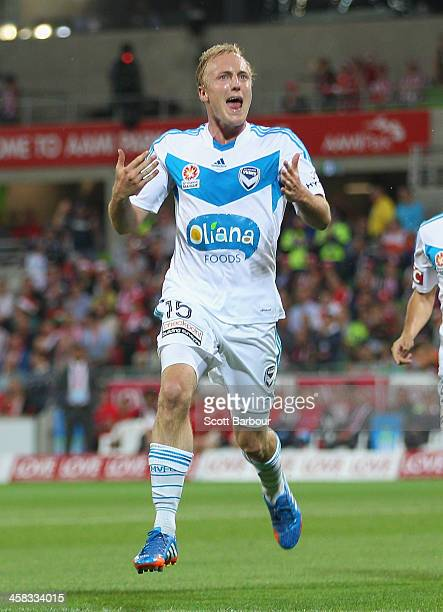 Mitch Nichols of the Victory celebrates after scoring his second goal during the round 11 ALeague match between Melbourne Heart and Melbourne Victory...