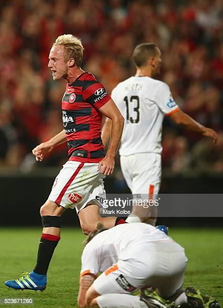 Mitch Nichols of the Wanderers celebrate Brendon Santalab scoring a goal during the ALeague Semi Final match between the Western Sydney Wanderers and...