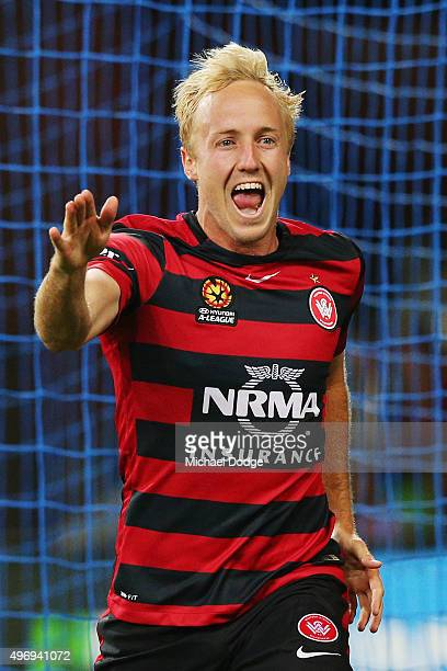 Mitch Nichols of the Wanderers celebrates a goal during the round six ALeague match between Melbourne City FC and the Western Sydney Wanderers at...