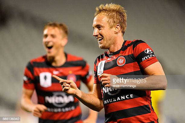 Mitch Nichols of the Wanderers celebrates after scoring a goal during the FFA Cup Round of 32 match between the Western Sydney Wanderers and the...