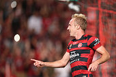 Mitch Nichols of the Wanderers celebrates scoring a goal during the round 26 ALeague match between the Western Sydney Wanderers and the Central Coast...