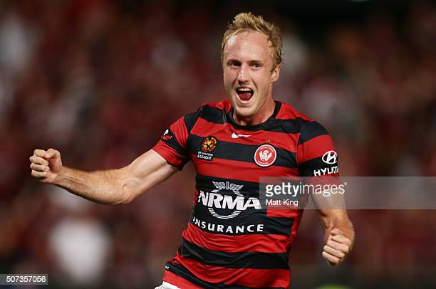 Mitch Nichols of the Wanderers celebrates scoring the first goal during the round 17 ALeague match between the Western Sydney Wanderers and Melbourne...