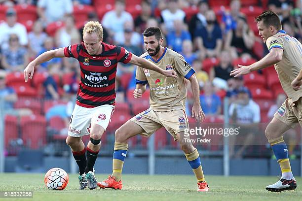 Mitch Nichols of the Wanderers controls the ball during the round 23 ALeague match between the Newcastle Jets and the Western Sydney Wanderers at...