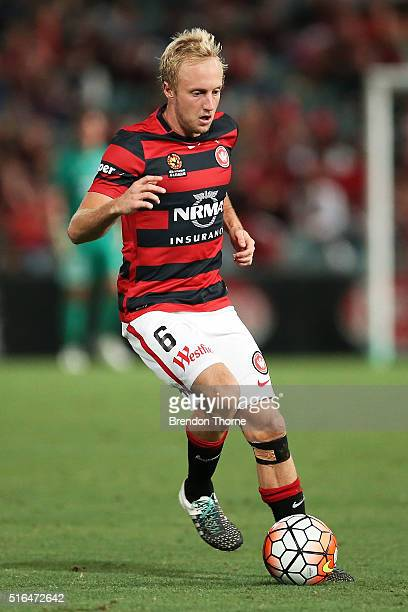 Mitch Nichols of the Wanderers controls the ball during the round 24 ALeague match between the Western Sydney Wanderers and Adelaide United at Pirtek...