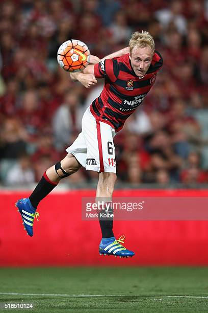 Mitch Nichols of the Wanderers heads the ball at goal during the round 26 ALeague match between the Western Sydney Wanderers and the Central Coast...