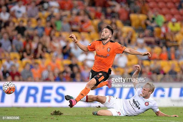 Mitch Nichols of the Wanderers is penalised for this tackle on Brandon Borrello of the Roar during the round 22 ALeague match between the Brisbane...