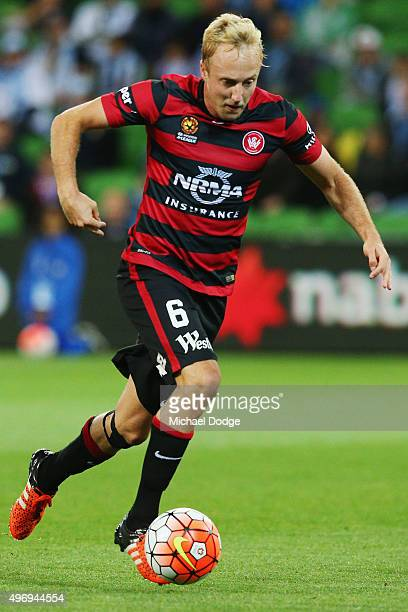Mitch Nichols of the Wanderers runs with the ball during the round six ALeague match between Melbourne City FC and the Western Sydney Wanderers at...