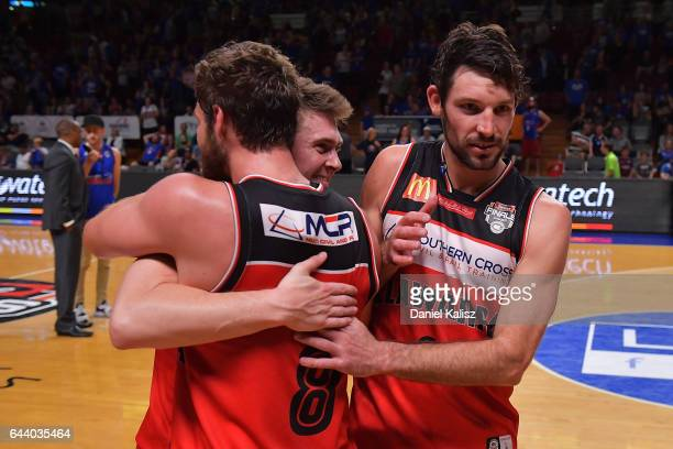 Mitch Norton Rotnei Clarke and Mitch Norton of the Illawarra Hawks reacts after the game three of the NBL Semi Final series between the Adelaide...