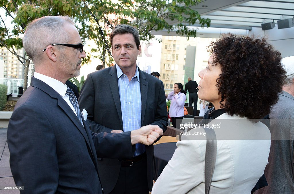 Mitch O'Farrell, Los Angeles City Council District 13, president of Film Independent <a gi-track='captionPersonalityLinkClicked' href=/galleries/search?phrase=Josh+Welsh&family=editorial&specificpeople=5431194 ng-click='$event.stopPropagation()'>Josh Welsh</a> and LAFF director <a gi-track='captionPersonalityLinkClicked' href=/galleries/search?phrase=Stephanie+Allain&family=editorial&specificpeople=2079610 ng-click='$event.stopPropagation()'>Stephanie Allain</a> attend the Filmmaker Reception during the 2014 Los Angeles Film Festival at Club Nokia on June 13, 2014 in Los Angeles, California.