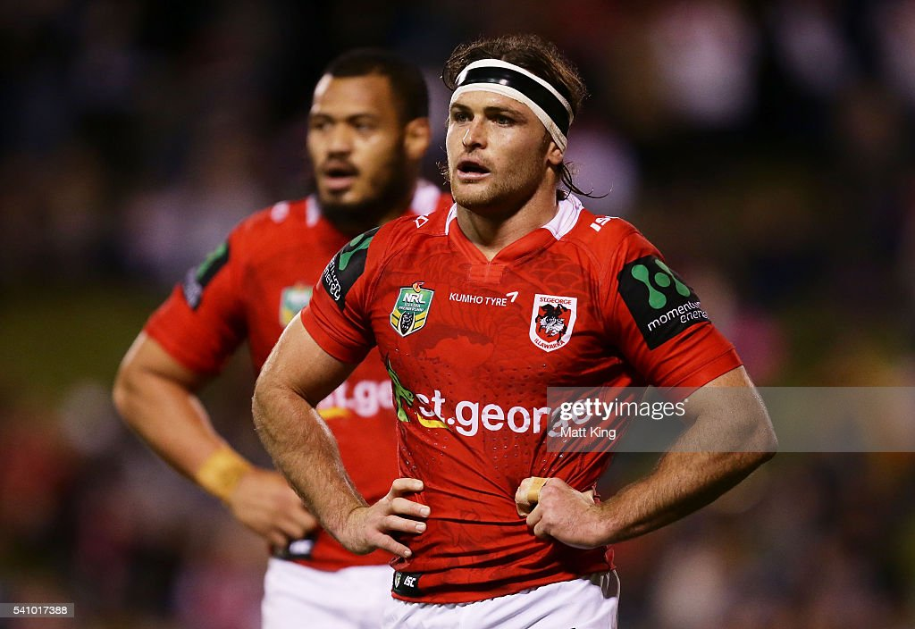 Mitch Rein of the Dragons looks on during the round 15 NRL match between the St George Illawarra Dragons and the Melbourne Storm at WIN Stadium on...