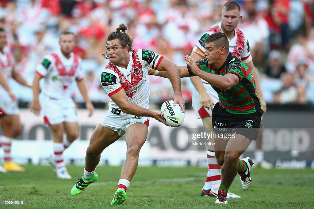Mitch Rein of the Dragons looks to pass during the NRL Charity Shield match between the St George Illawarra Dragons and the South Sydney Rabbitohs at ANZ Stadium on February 13, 2016 in Sydney, Australia.