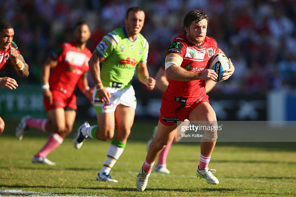 Mitch Rein of the Dragons makes a break during the round 10 NRL match between the St George Illawarra Dragons and the Canberra Raiders at WIN Stadium...