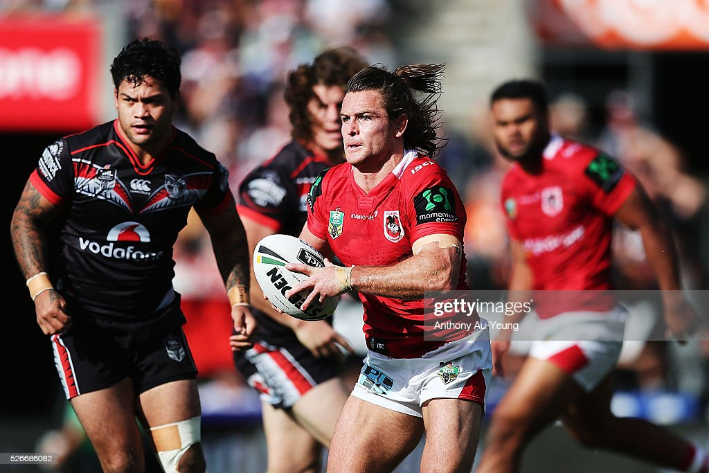 Mitch Rein of the Dragons makes a run against Issac Luke of the Warriors during the round nine NRL match between the New Zealand Warriors and the St George Illawarra Dragons at Mt Smart Stadium on May 1, 2016 in Auckland, New Zealand.