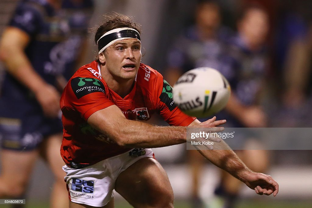 Mitch Rein of the Dragons passes during the round 12 NRL match between the St George Illawarra Dragons and the North Queensland Cowboys at WIN Jubilee Stadium on May 28, 2016 in Wollongong, Australia.