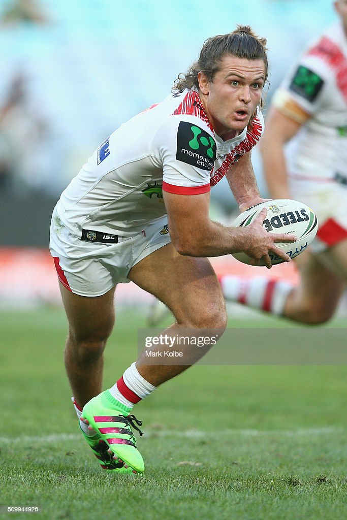 Mitch Rein of the Dragons runs the ball during the NRL Charity Shield match between the St George Illawarra Dragons and the South Sydney Rabbitohs at ANZ Stadium on February 13, 2016 in Sydney, Australia.