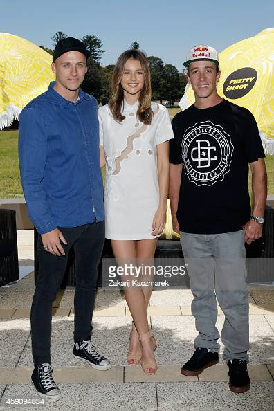 Mitch Revs Isabelle Cornish and Robbie Maddison arrive at the Pretty Shady Launch at Centennial Park on November 17 2014 in Sydney Australia Pretty...
