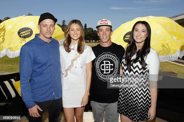 Mitch Revs Isabelle Cornish Robbie Maddison and Veronica Manock arrive at the Pretty Shady Launch at Centennial Park on November 17 2014 in Sydney...