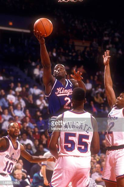 ... Mitch Richmond of the Sacramento Kings drives to the basket during a  basketball game against the ... 4f72c5667