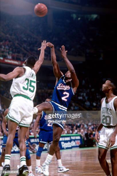 ... Nba Mitch Richmond of the Sacramento Kings shoots against Reggie Lewis  of the Boston Celtics during a Jersey ... 011211f0e
