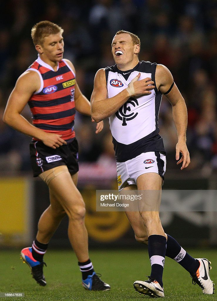 Mitch Robinson of the Blues reacts after missing a kick for goal during the round seven AFL match between the St Kilda Saints and the Carlton Blues at Etihad Stadium on May 13, 2013 in Melbourne, Australia.