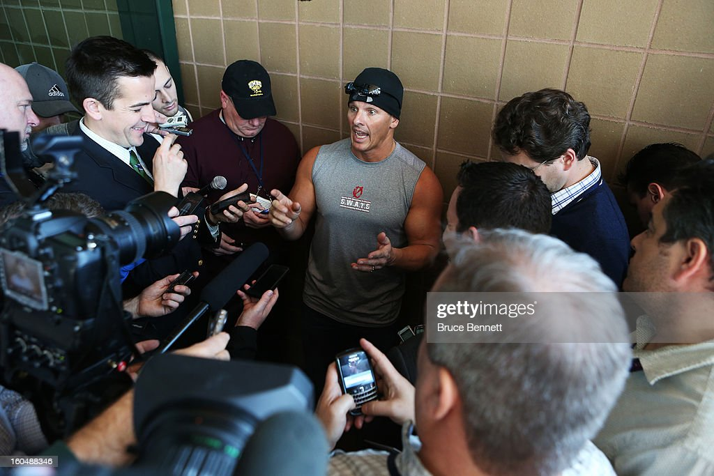 Mitch Ross, co-owner of a company called S.W.A.T.S. (Sports with Alternatives to Steroids) speaks to members of the media outside the Ernest N. Morial Convention Center on February 1, 2013 in New Orleans, Louisiana.