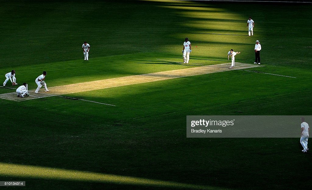 Mitch Sempson of Queensland bowls to Ben McDermott of Tasmania during day one of the Sheffield Shield match between Queensland and Tasmania at The Gabba on February 14, 2016 in Brisbane, Australia.