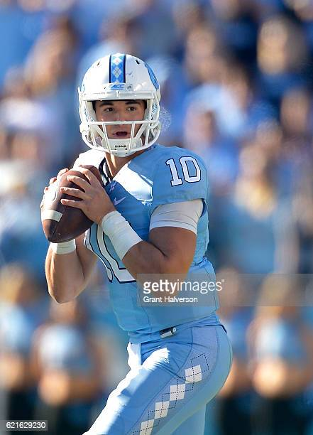 Mitch Trubisky of the North Carolina Tar Heels in action against the Georgia Tech Yellow Jackets during the game at Kenan Stadium on November 5 2016...